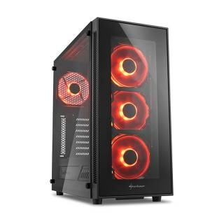 Sharkoon TG5 Middle Tower Vetro Temperato No Power LED Rosso minITX/mATX/ATX Nero