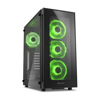 Sharkoon TG5 Middle Tower Vetro Temperato No Power LED Green minITX/mATX/ATX Nero