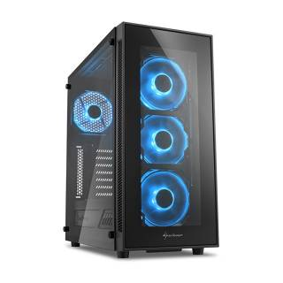Sharkoon TG5 Middle Tower Vetro Temperato No Power LED Blue minITX/mATX/ATX Nero