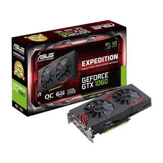 Asus Expedition GeForce GTX 1060 OC EX-GTX1060-O6G 6GB GDDR5 DVI/2*HDMI/2*DP PCi Ex 3.0 16x