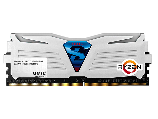 GEIL 16GB(8GBx2) PC4-19200 2400MHz SUPER LUCE WHITE 16-16-16-36 - WHITE LED - AMD Ryzen Edition