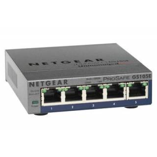 Netgear GS105PE-10000S Switch ProSafe Plus Gigabit Ethernet 10/100/1000 5 porte Metallo