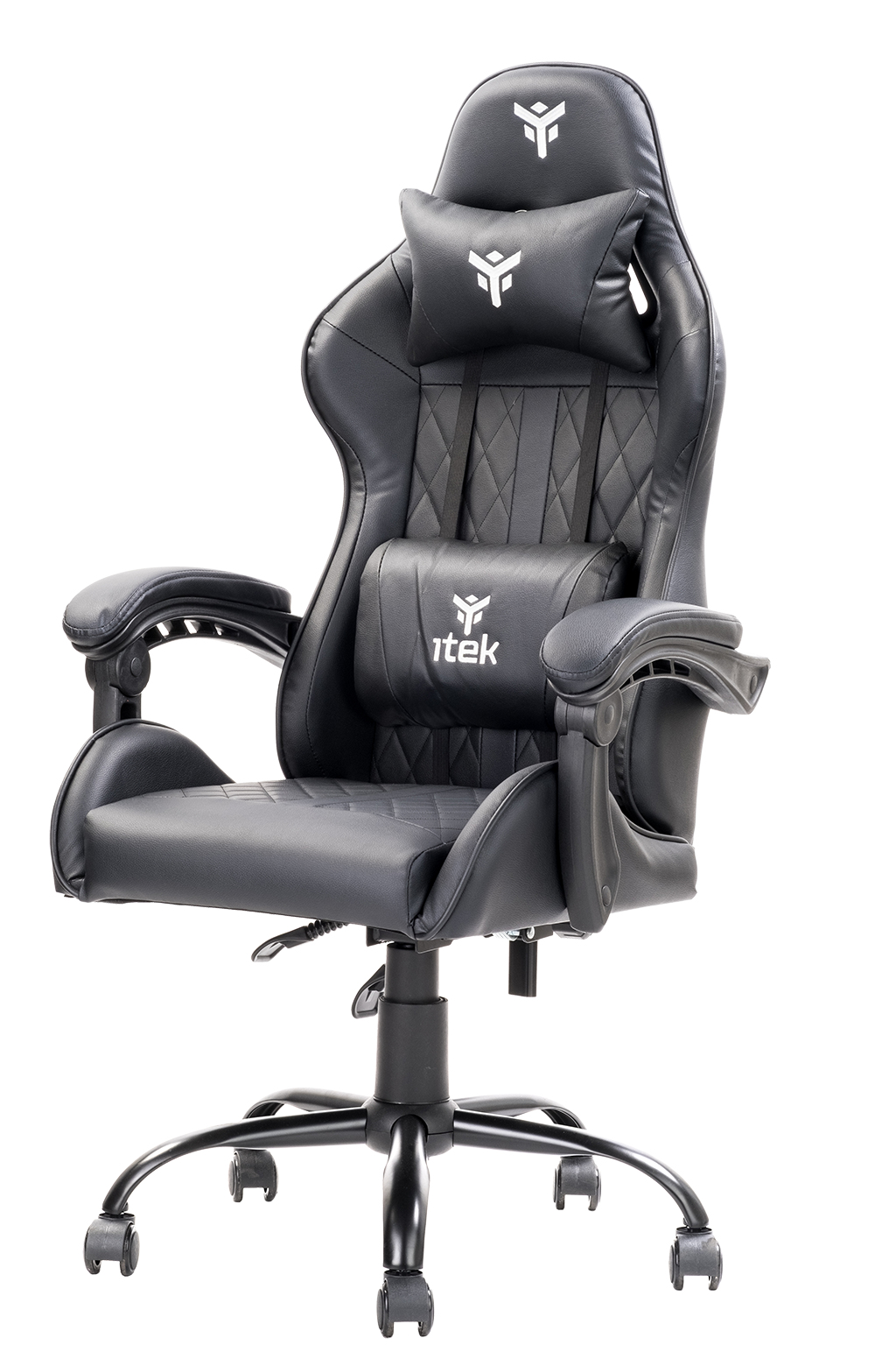 itek Gaming Chair RHOMBUS PF10 - PVC, Doppio Cuscino, Schienale Reclinabile, Nero Nero