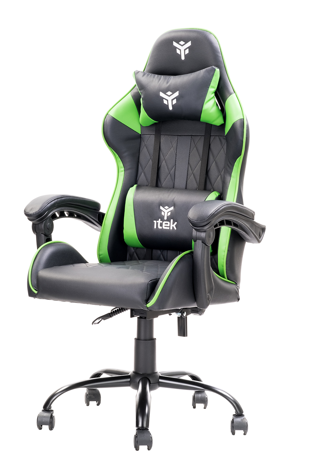 itek Gaming Chair RHOMBUS PF10 - PVC, Doppio Cuscino, Schienale Reclinabile, Nero Verde