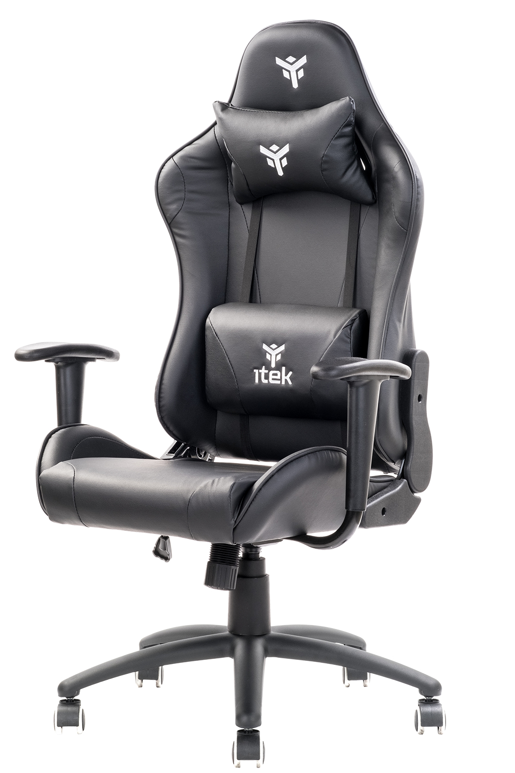 itek Gaming Chair PLAYCOM PM20 - PVC, Doppio Cuscino, Schienale Reclinabile, Nero Nero