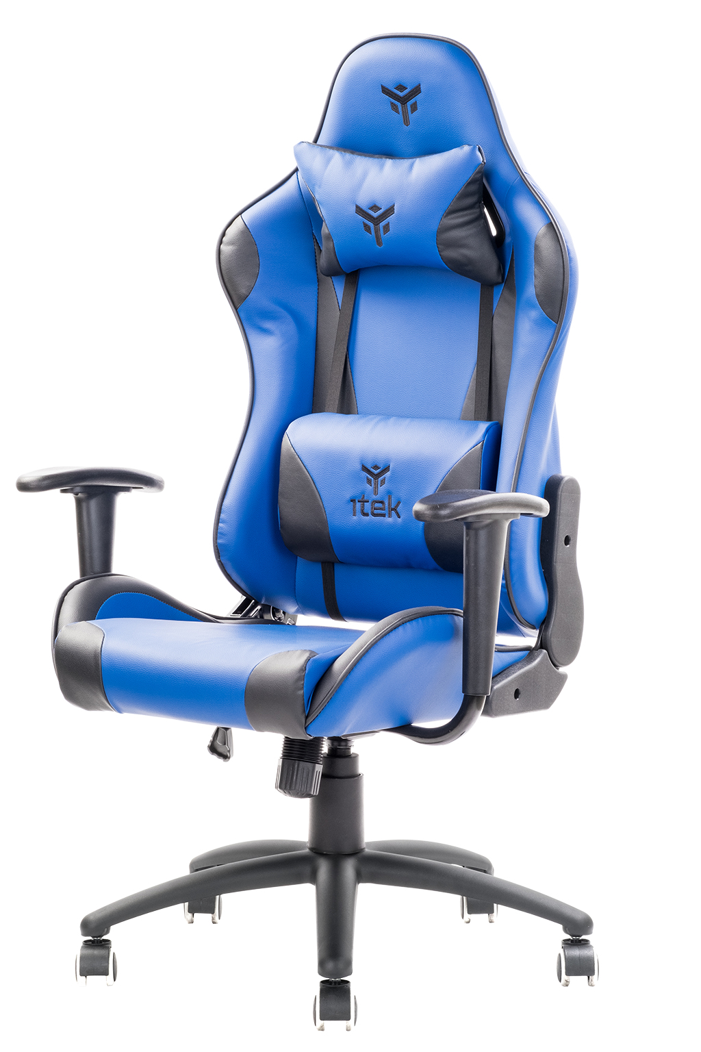 itek Gaming Chair PLAYCOM PM20 - PVC, Doppio Cuscino, Schienale Reclinabile, Blu Nero