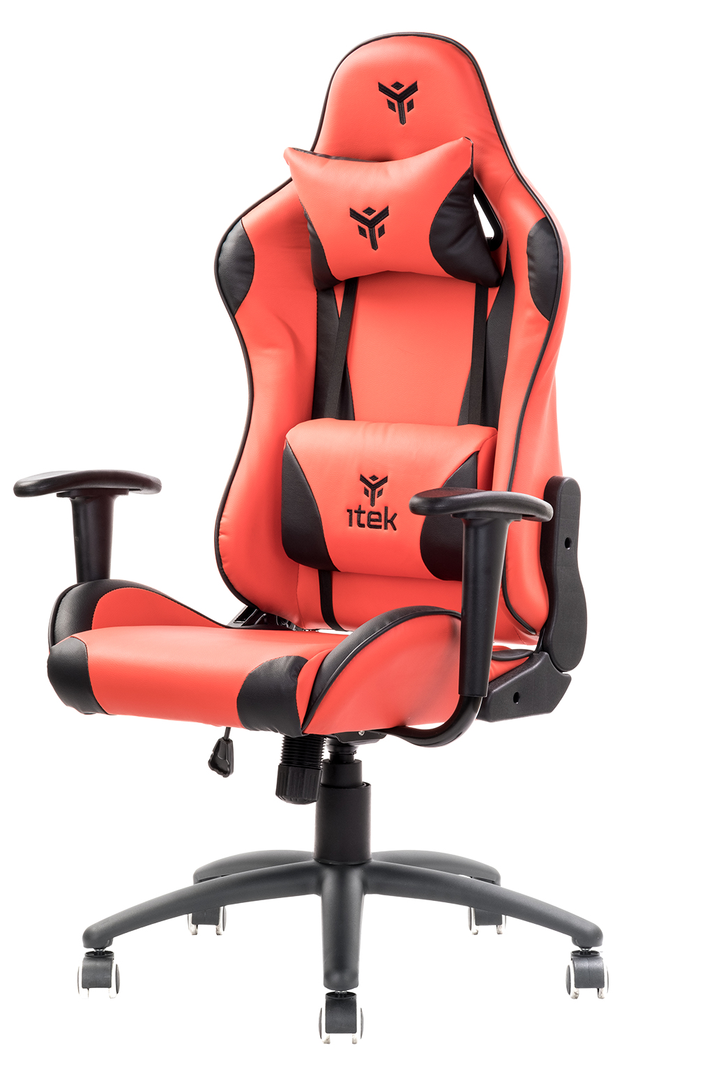 itek Gaming Chair PLAYCOM PM20 - PVC, Doppio Cuscino, Schienale Reclinabile, Rosso Nero