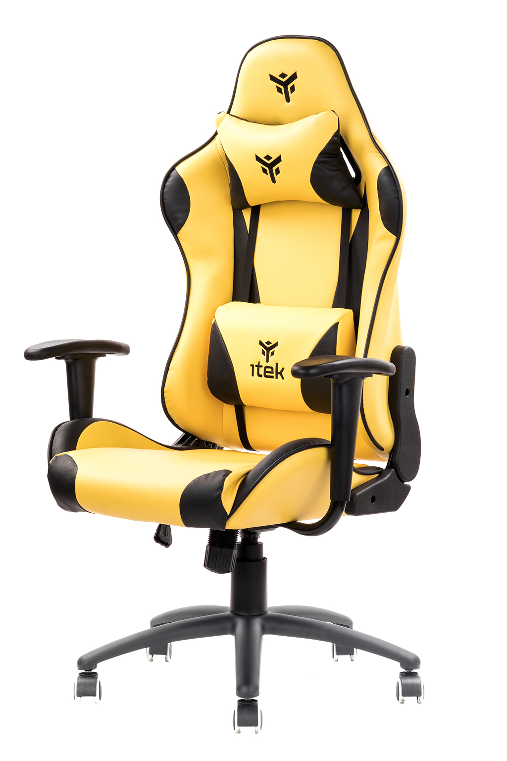 itek Gaming Chair PLAYCOM PM20 - PVC, Doppio Cuscino, Schienale Reclinabile, Giallo Nero