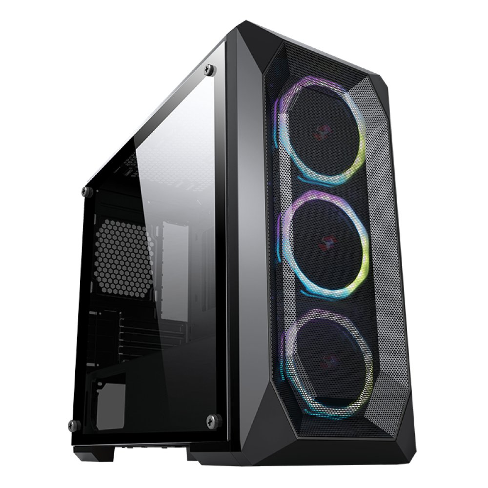 Case EPSYLON 2.0 - Gaming Mini Tower, 2xUSB3, 3x12cm ARGB fan, Side Panel Temp Glass