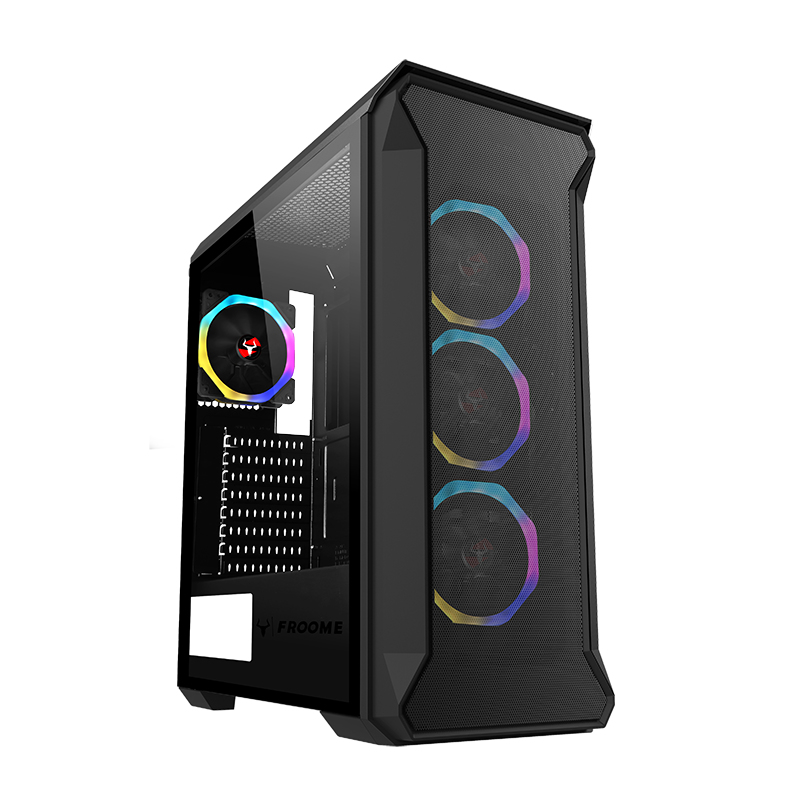 Case FROOME - Gaming Middle Tower, 4x12cm ARGB fan, USB3, Front Mesh, Side Temp Glass
