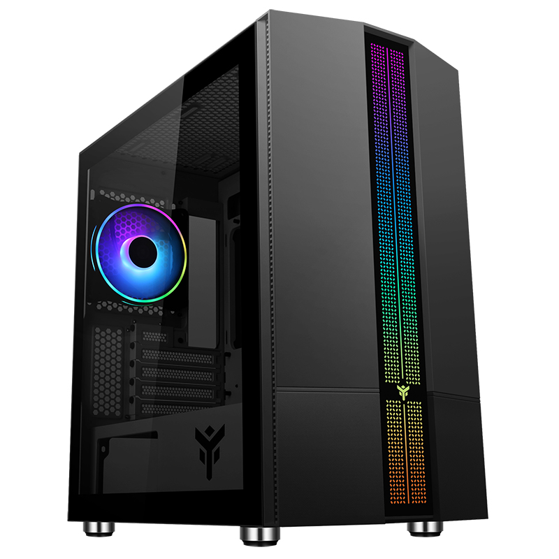 Case LIFLIG B41 - Gaming Mini Tower, mATX, 12cm ARGB fan, 2xUSB3, Side Panel Temp Glass