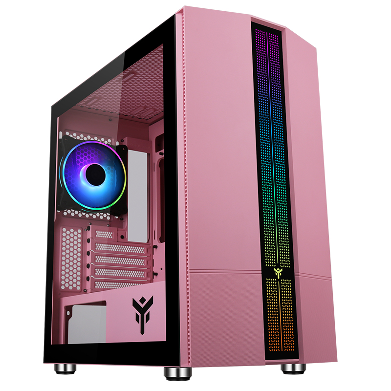 Case LIFLIG P41 - Gaming Mini Tower, mATX, 12cm ARGB fan, 2xUSB3, Side Panel Temp Glass, Pink Edition