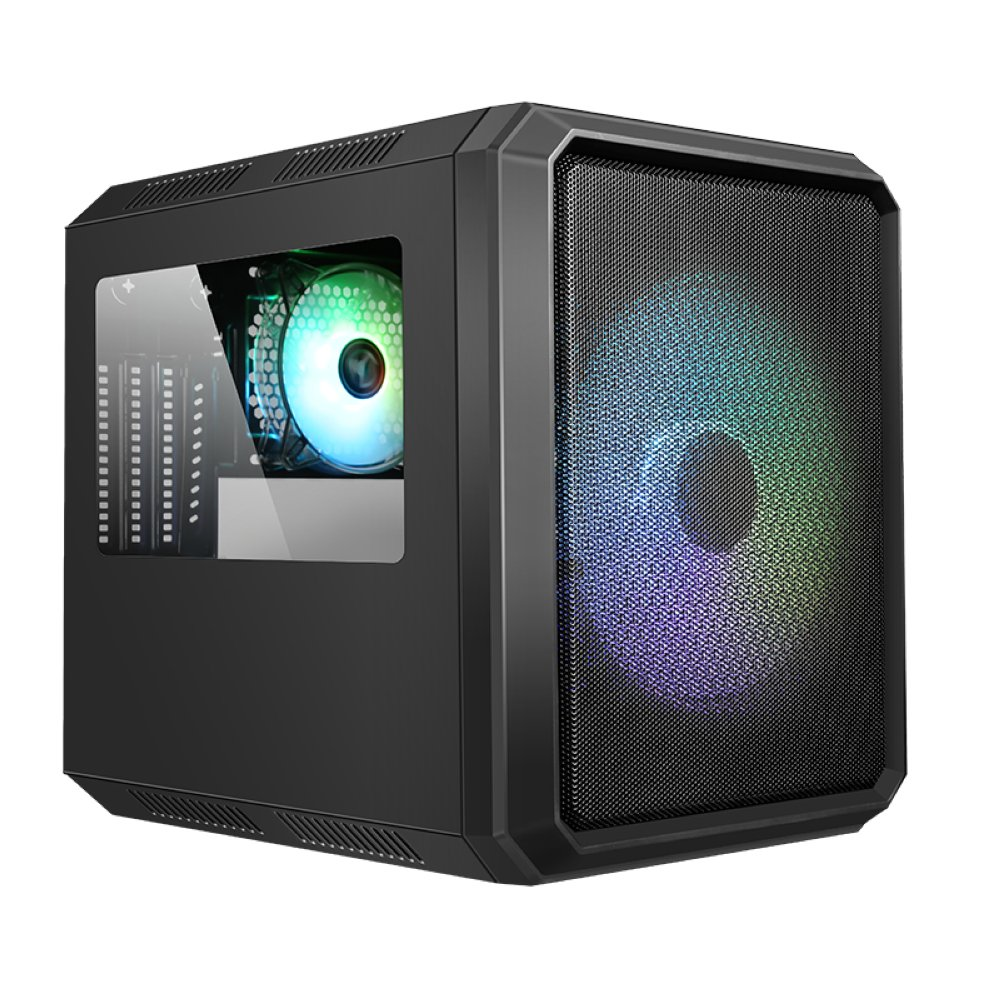 Case QBO 8 EVO - Micro ATX, USB3, 200+120mm ARGB fan, Card Reader, 3x Trasp Window