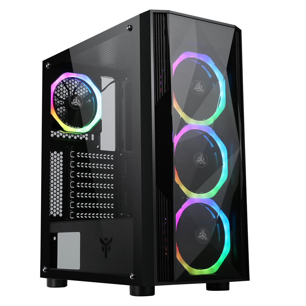 Case SHAKE EVO - Gaming Middle Tower, USB3, 4x12cm ARGB fan, Side Panel Temp Glass