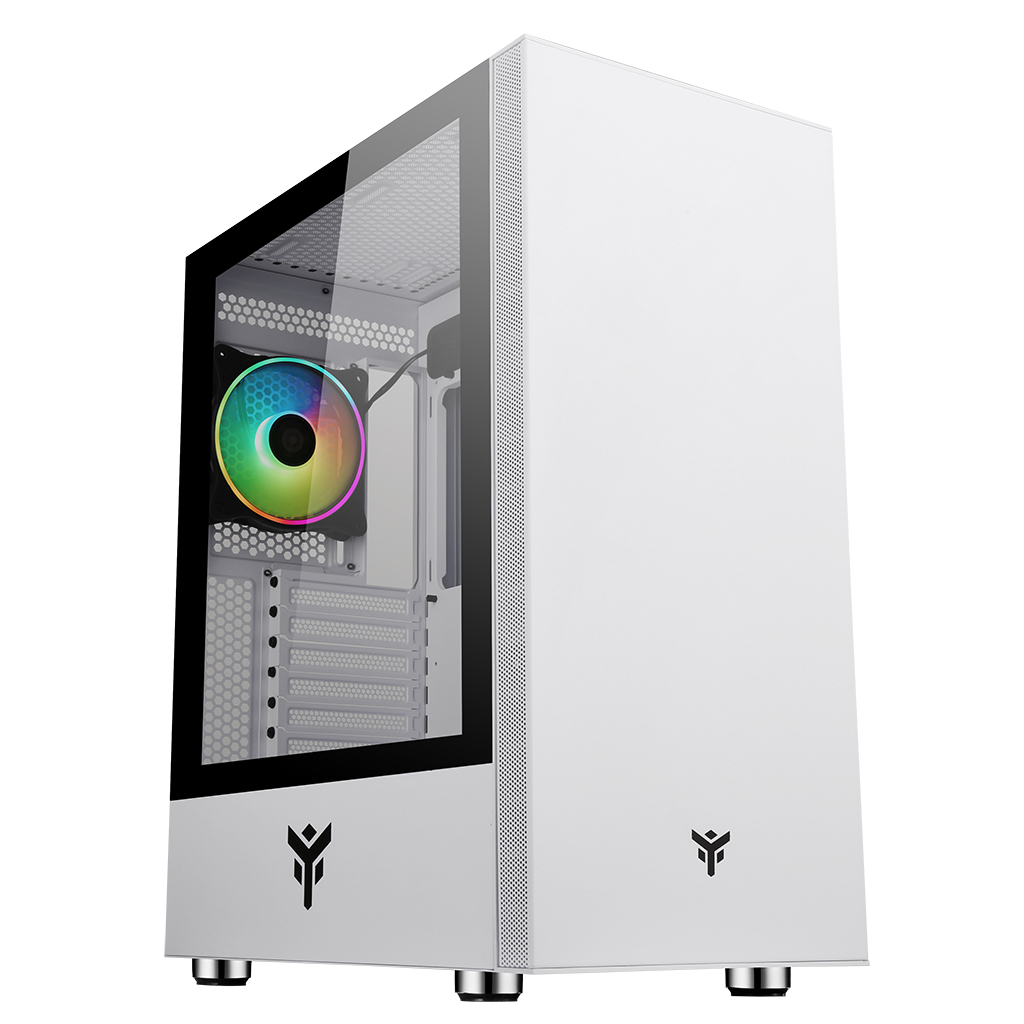 Case VERTIBRA S210W - Gaming Middle Tower, 12cm ARGB fan, 2xUSB3, Side Panel Temp Glass, White Edition