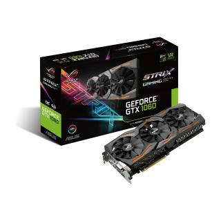 Asus GeForce ROG Strix GTX 1060 OC STRIX - GTX1060 - O6G - Gaming 6GB GDDR5 Aura RGB DVI / 2*HDMI / 2*DP PCi Ex 3.0 16x