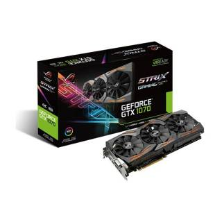 Asus GeForce ROG Strix GTX 1070 ROG STRIX - GTX1070 - O8G - Gaming 8GB GDDR5 Aura RGB DVI / 2*HDMI / 2*DP PCi Ex 3.0 16x
